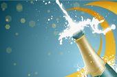 champagne bottle uncorking flyer background
