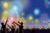 new year celebration crowd flyer background