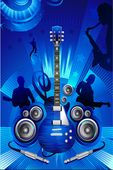 blue rock music with guitar flyer background