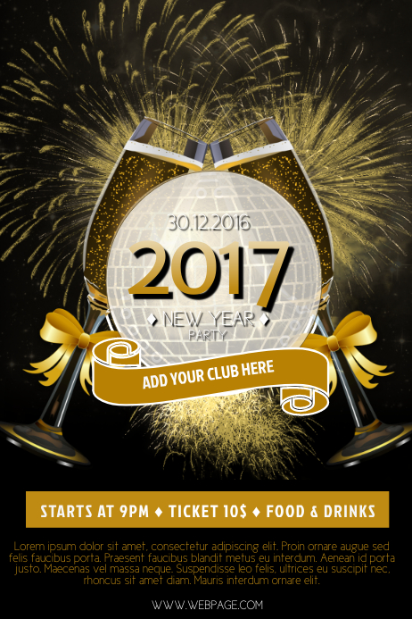 2017 new year flyer template postermywall