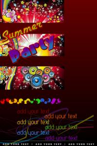 DJ Club Summer Rainbow Stars Lights Night Venue Party Event Night Flyer Poster