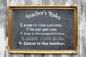 Teacher\'s Rules Vintage Chalkboard School Wall Event Classroom Decor Poster