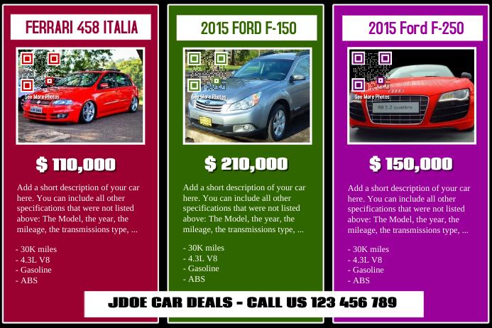 Car For Sale Flyer Templates