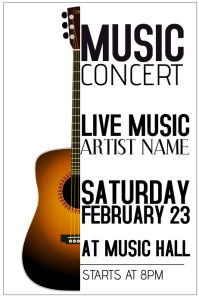 acoustic guitar live music concert poster template