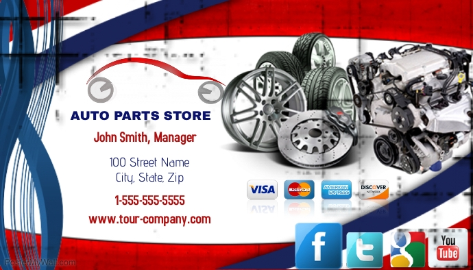 Auto parts store business card template postermywall for Auto parts business cards
