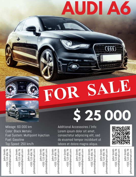 car for sale flyer with tabs template postermywall. Black Bedroom Furniture Sets. Home Design Ideas
