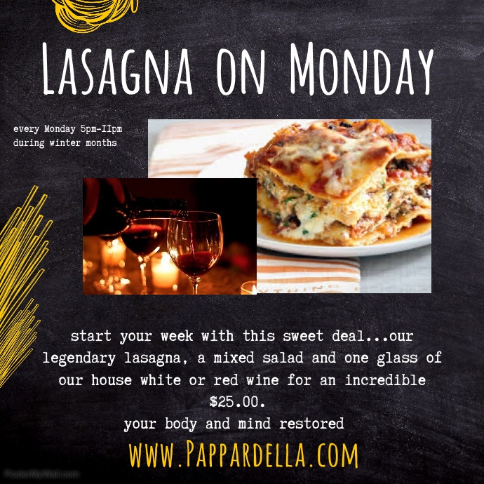 lasagna mondays instagram