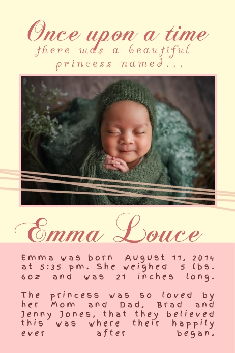 baby announcement poster template postermywall