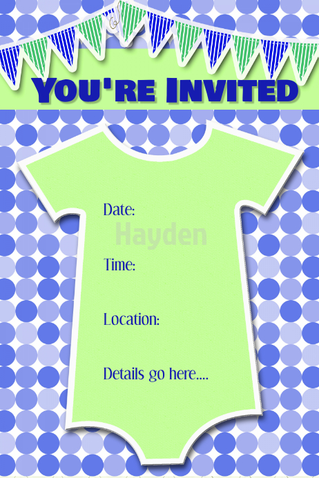 baby boy birthday party invitation announcement poster