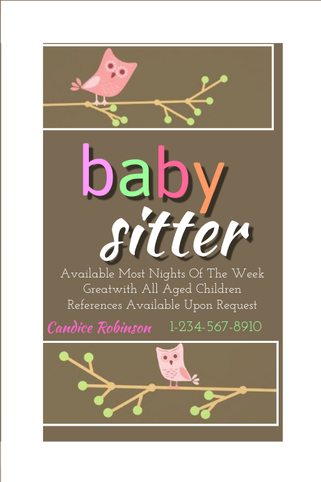Baby sitting flyer template postermywall for Babysitting poster template