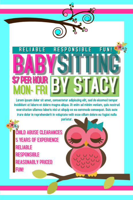 babysitting poster template postermywall babysitting flyers