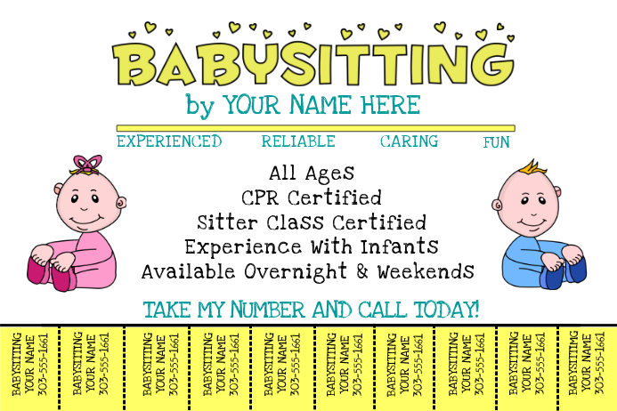 Babysitting template postermywall for Babysitting poster template