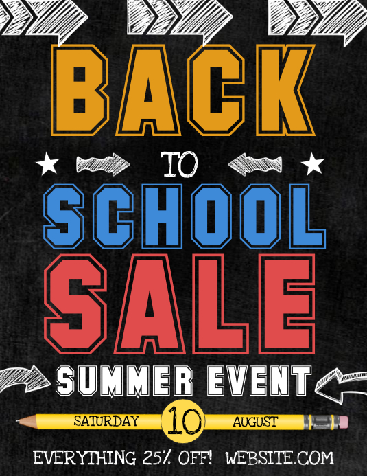 back to school sale template postermywall. Black Bedroom Furniture Sets. Home Design Ideas