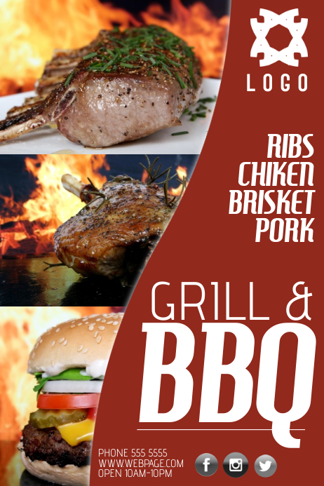 Bbq Barbecue Grill Business Company Poster Template