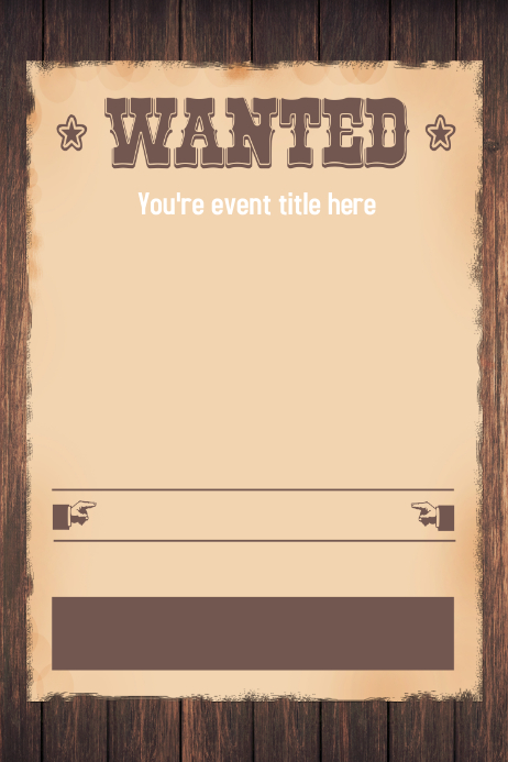 Wanted Western Themed Party Invitation Flyer Template ...