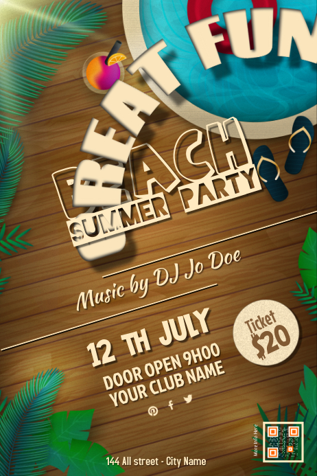 beach party flyers template