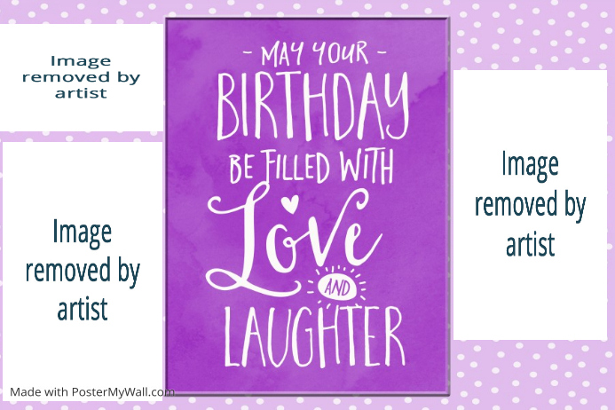 birthday girl purple collage print poster gift family
