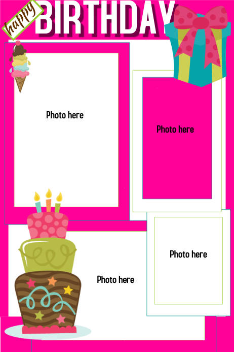 birthday template postermywall. Black Bedroom Furniture Sets. Home Design Ideas