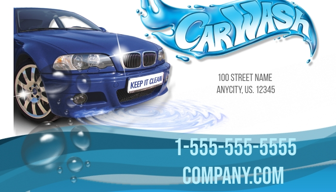Car wash business card template postermywall for Car wash poster template free