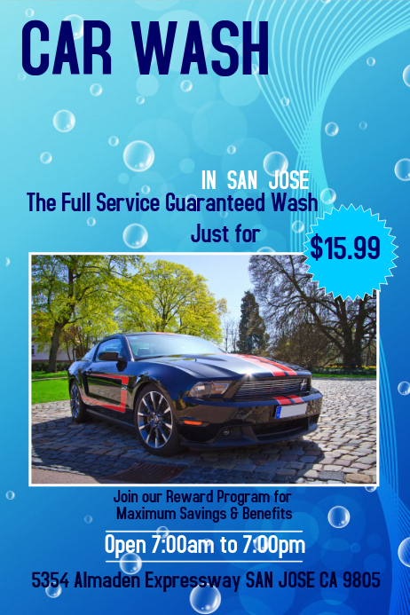 car wash poster template postermywall. Black Bedroom Furniture Sets. Home Design Ideas