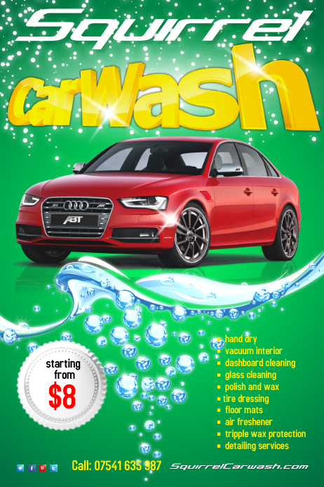 Carwash flyer template postermywall for Car wash poster template free
