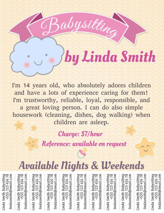 Babysitting template with tabs postermywall for Babysitting poster template