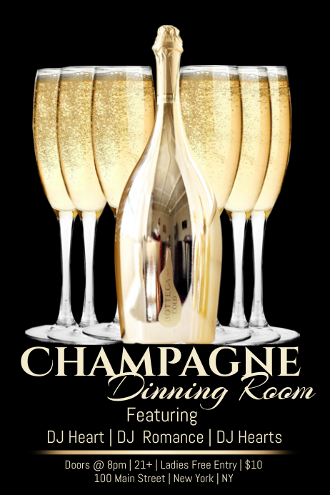 Champagne dining room template postermywall for Dining room posters
