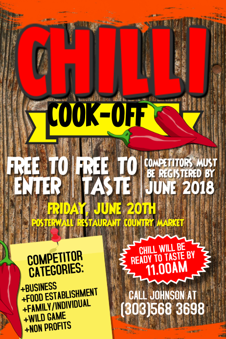 Chili Cook Off Contest Poster Template Postermywall