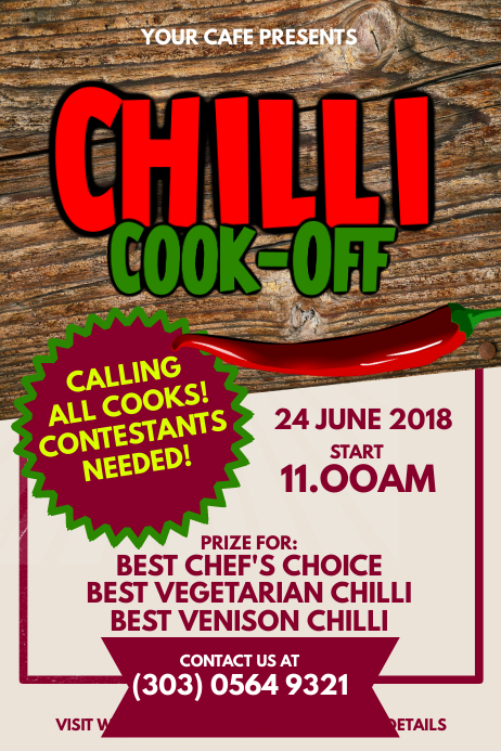 chili cook off contest poster template postermywall. Black Bedroom Furniture Sets. Home Design Ideas