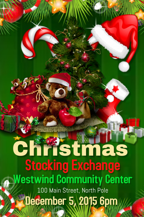 Christmas stocking exchange template postermywall