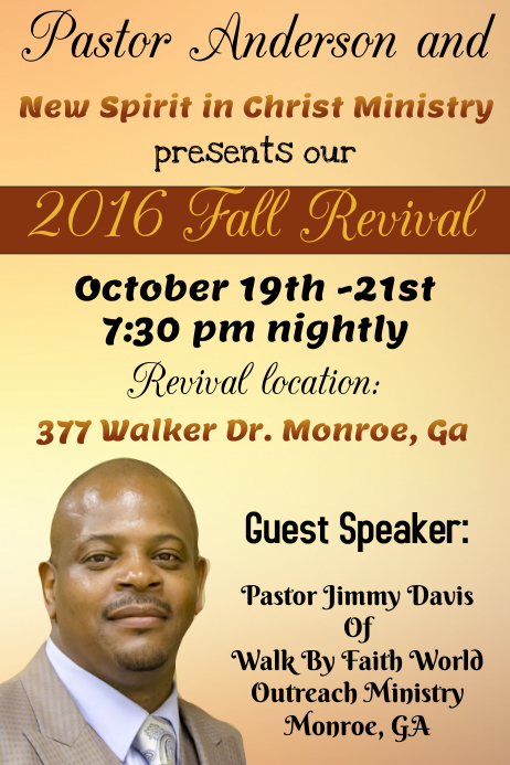 Church fall revival template postermywall for Free church revival flyer template