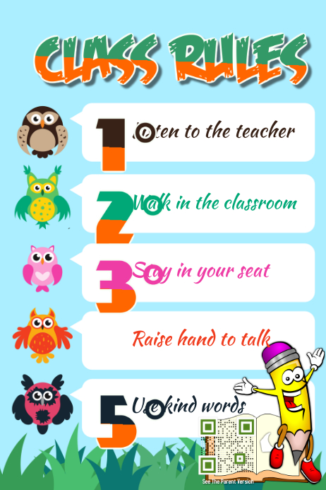 Class Rules Poster Theme Animal Kids And Kindergarten