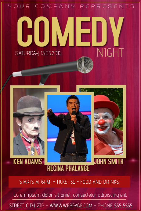 Comedy Night Stand Up Comedy Flyer Template Postermywall