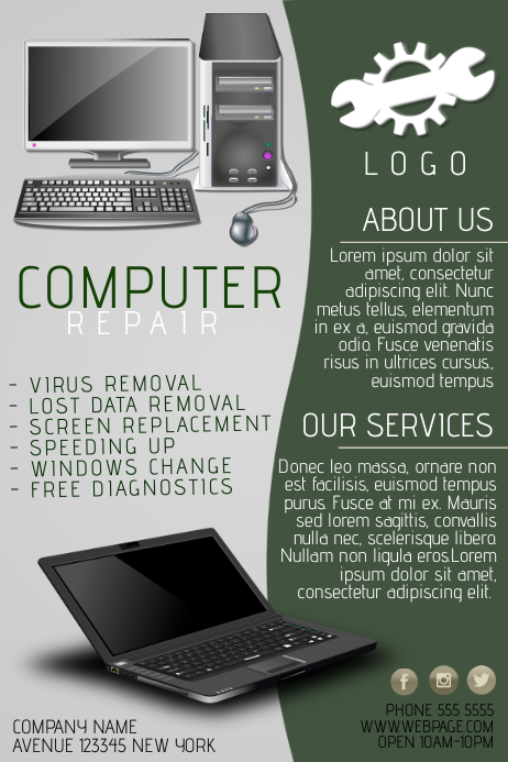 Computer Repair Flyer Template Image Collections Template Design