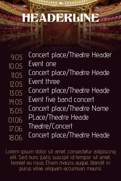 concert band tour theatre schedule calendar flyer template postermywall. Black Bedroom Furniture Sets. Home Design Ideas