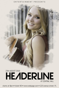 concert country band singer event flyer template with photo