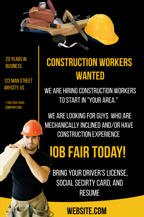 Construction Help Wanted Template | PosterMyWall