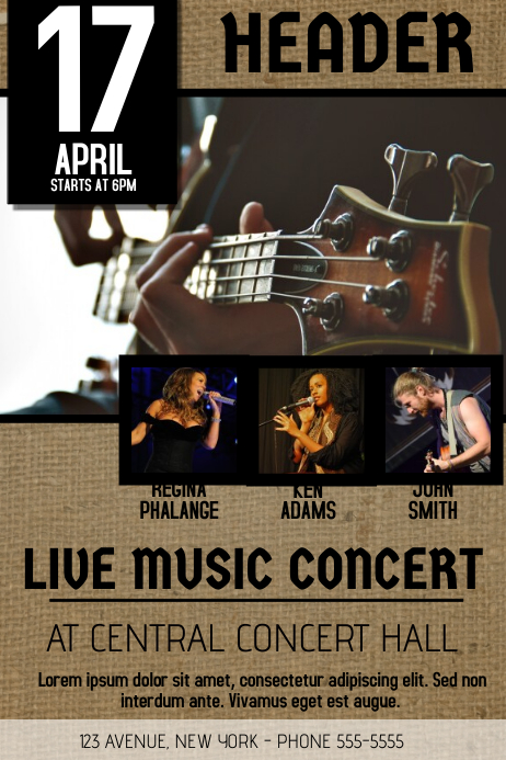 Country concert band guitar flyer template postermywall for Party wall act template