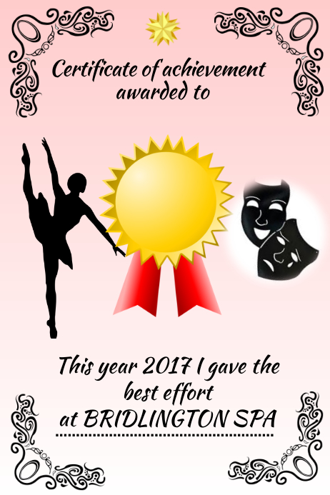 dance certificateaward template postermywall