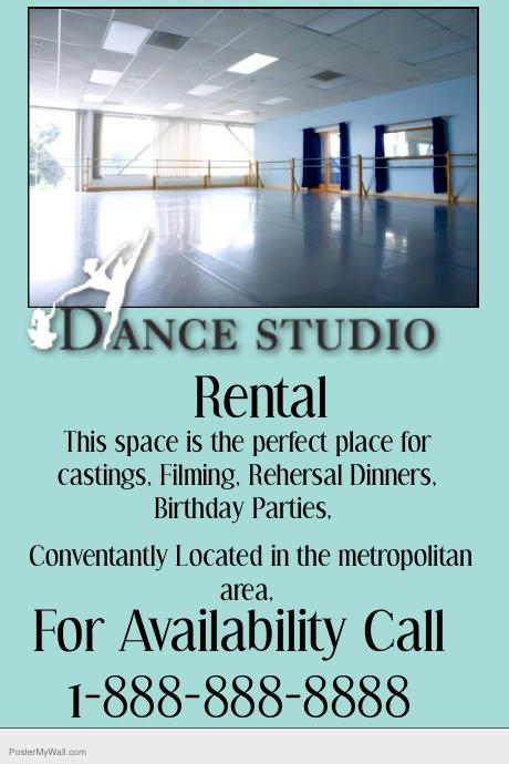 Dance studio rental property flyer template postermywall for Rental property flyer template