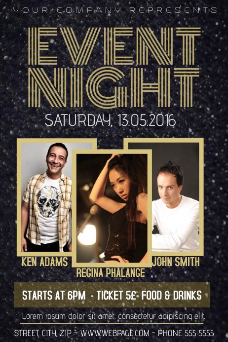Dark Gold Night Event Concert Poster Template