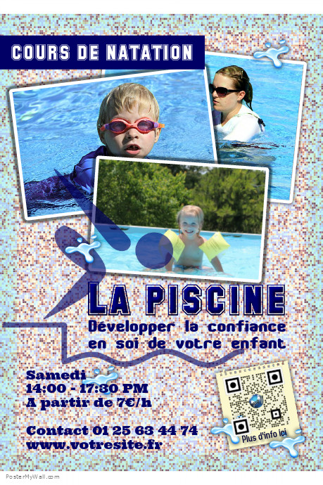 Postermywall affiche personnalisable pour cours de natation piscine et activit s de plage a4 for Poster et affiche