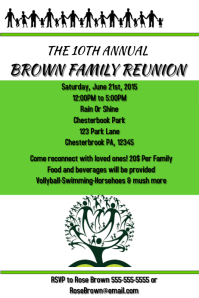 reunion banners design templates - customizable design templates for family gathering