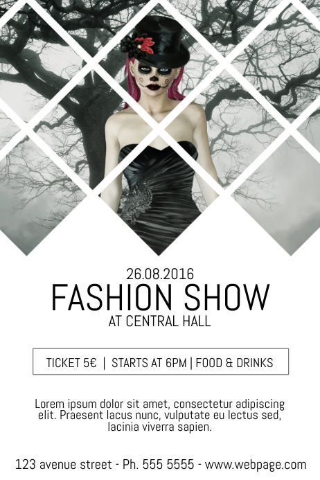 Fashion show event flyer template with background photo ...