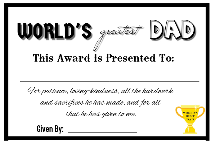 fathers day certificate template postermywall