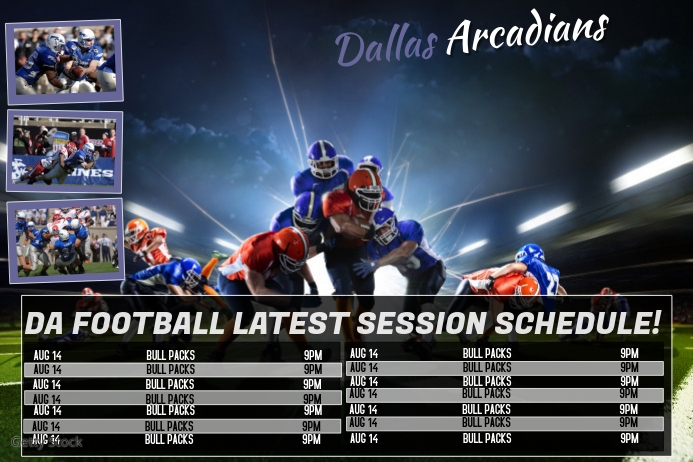 sports team photography templates - football sports team schedule template postermywall