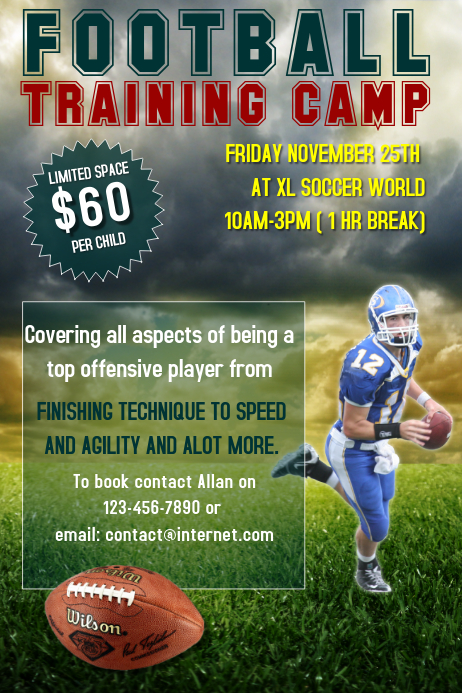 Football training camp flyer template PosterMyWall iUFXKRgC