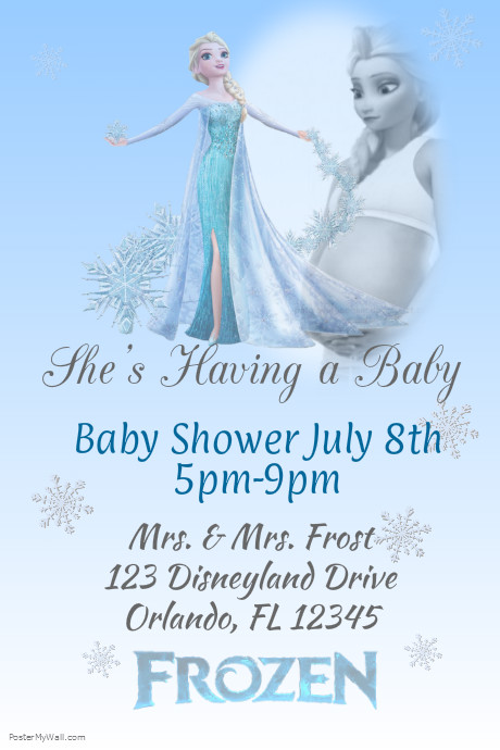 frozen baby shower template postermywall