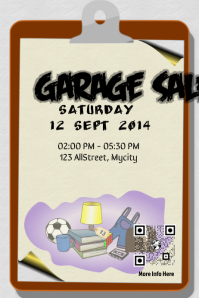 Garage sale flyer and poster with Save The Date QR code