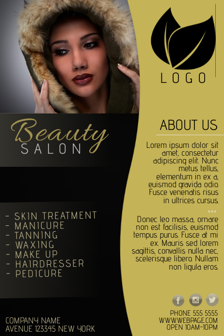 Gold and black beauty salon flyer template postermywall for About us beauty salon